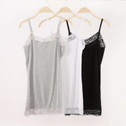 Women Summer Plus Size Lace Tank Top Cami Bozzolo Long Layering Basic Styles $9.29