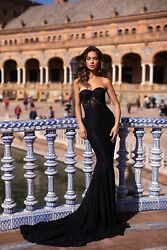 Lace strapless black prom dress with train $225.00