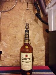 Vintage Calvert Whiskey Distilling Co Glass Bottle Lamp 32quot; large lights up