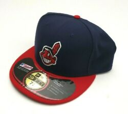 New Era Cleveland Indians 59Fifty Authentic OF Fitted Hat NavyRed Size 7 78