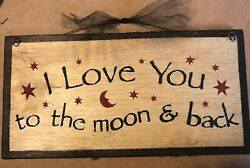 I Love you to the Moon amp; Back country inspirational wall decor wood sign 12X6quot; $9.99