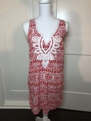 Mud Pie SIENNA EMBROIDERED COVER UP Size Med Red Medeterranean Mosaic $13.00
