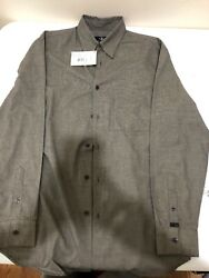 Calvin Klein Mens Modern Long Sleeve Button Up Shirt Small Bark 38 New With Tag $39.99