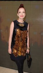 AUTHENTIC DARK NAVY BLUE RUNWAY MARNI Dress RED CARPET Metallic Gold 40 €1630