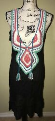 Shoreline S M Cover Up Black Crochet Sleeveless Beach Dress Tie Front Tassel NWT $21.25