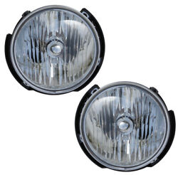 2007-2016 Jeep Wrangler Driver & Passenger Headlights Lamps Assembly Pair Set