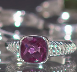 Nicky Butler 2.30 ctw  Cushion SOLITAIRE Ribbed RING in PINK Peri QUARTZ 8 nwt