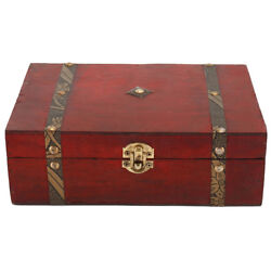 Wooden Jewellery Storage Box Vintage Treasure Chest Wood  Case Organiser Ring US