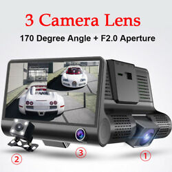 4'' HD 1080P Dual Lens Car DVR Dash Cam G-sensor Video Recorder Camera Newly