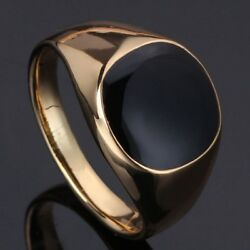 Men Ring Titanium Stainless Steel Ring 18K Gold Plated Vintage Ring Good Quality