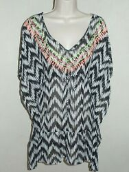 NWT Miken Swimsuit Cover Up Dress Tunic Black White Size S $15.99