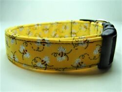 Charming Yellow with Glittery Bumble Bees Dog Collar $9.99