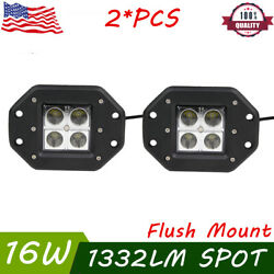 2X24W Led Lights Flush Mount Backup Reverse Front Rear Bumper Cube Pods Fog Lamp