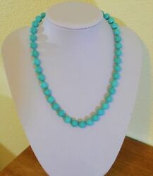 Beautiful Blue Turquoise 10mm Bead Handknotted Yellow Gold Necklace Handmade