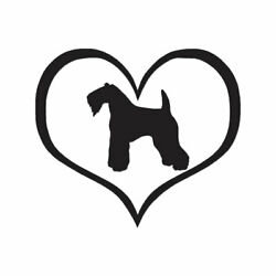 Kerry Blue Terrier Dog Heart - Vinyl Decal - Multiple Color & Sizes - ebn1477