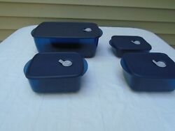 Tupperware Rock N Serve Containers Lot of 4 Blue Used