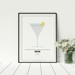 Martini Recipe Poster Cocktail Drinks Print Cool Kitchen Artwork Gift Gin Lover GBP 14.99