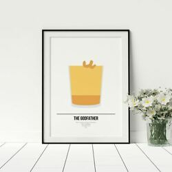The Godfather Cocktail Cool Kitchen Artwork Cocktail Posters Gift For Friend GBP 19.99