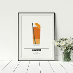 Screwdriver Cocktail Poster Recipe Happy Hour Drinks Print For Kitchen Artwork GBP 12.99