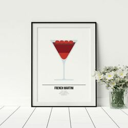 French Martini Drink Poster Cocktail Recipe Print Fun Kitchen Artwork Décor GBP 24.99