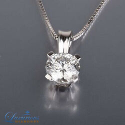 F SI Solitaire Diamond Pendant Necklace Set 2 ct Enhanced 18K White Gold