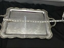 ANTIQUE SILVER PLATE SERVING BUTLERS TRAY Marked International Silver Co
