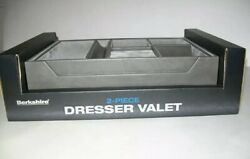 Berkshire Dresser Valet 2 Piece Tray Gray Leather 7 Compartments Watch Rings