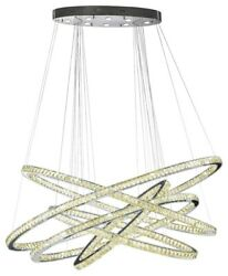 USA Galaxy Oval Rings 94+8 LED Light Clear Crysal Chandelier 3500K 72x44