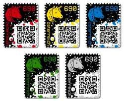 Crypto Stamps - Red Yellow Blue Green Black - extremly rare