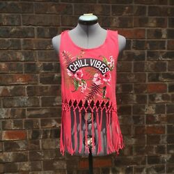 Charlotte Russe Pink Crop Top With Fringe Small $8.00