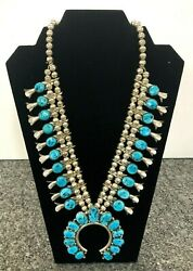 NE Vintage Turquoise Squash Blossom Native American Necklace Sterling Silver