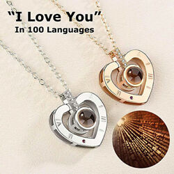 100 Languages I Love You Heart Pendant Necklace Light Projection Women Gift 1PC