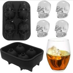 Skull Ice Mold Silicone Whiskey Ice Cube Tray Maker Cream Molds Form Party Bar $7.91