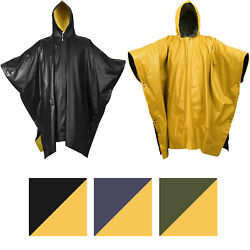 Reversible Waterproof Rain Poncho High Visibility PVC Thick Outdoor Hood amp; Snaps $17.99
