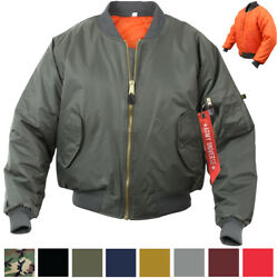 MA 1 Flight Jacket Military Bomber Coat Reversible Orange MA1 Army Air Force $46.99