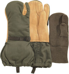 Leather Gloves Trigger Finger Wool Mittens Cold Weather US Military Surplus Used $19.99