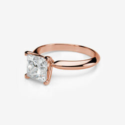 SOLITAIRE COLORLESS DIAMOND RING PRINCESS SHAPE 14 KT ROSE GOLD RED VVS1 1.58 CT