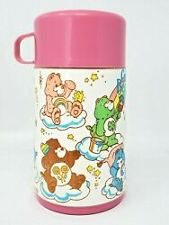 Aladdin Vintage Thermos Only 1985 Care Bears Pink Rainbow Clouds Stars 6.5quot; EUC $22.00