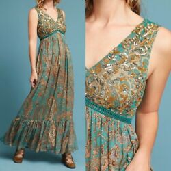 Ranna Gill Anthropology Maxi Long Dress Turquoise Gold Sequin Maxi 8 4130 $228 $98.00