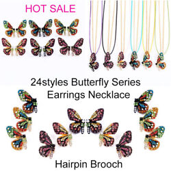 Butterfly Series Earrings Necklace Brooches Pin Hair Clips Women Fashion Jewelry