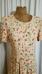 Vntg RJ Stevens Dress Yellow Pink Floral SS Pleated Button Down Long Maxi 12 $39.97
