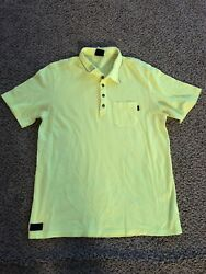 Mens Oakley Yellow Polo Shirt Front Pocket Size Large $14.11