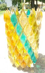 Mid Century Modern Chunky Lucite Swag Lamp House Mosaic Blue Gold Orange Green