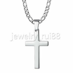 Mens Silver Cross Pendant Necklace Stainless Steel Figaro Chain Necklace 18