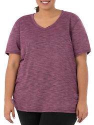 Terra amp; Sky Women#x27;s Plus Size Casual Shirred Short Sleeve Tee Burgundy Rose Herb $4.90