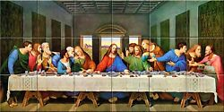 Last Supper Religious Catholic Ceramic Tile Murals 12.75 X 25.5 inches