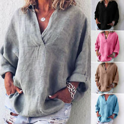 Ladies V Neck Casual Loose Long Sleeve Blouse Cotton Linen T Shirt Tops Summer