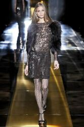 Gucci Runway Beaded Feather Embellished Dress IT 40