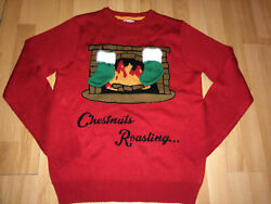Mens Christmas Jumper Bright Red Fireplace Chestnuts Roasting Size Medium M