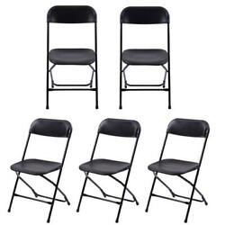 New 5 Pcs Commercial Wedding Quality Stackable Plastic Folding Chairs Black